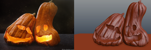 Unfinished Halloween Work- Buddy Pumpkins by Shastro