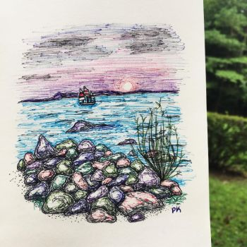 A beach // ballpoint pen sketch by MajesticPaula