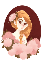 girl and flowers doodle by Asiaglocke