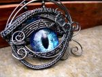 Wire Wrap - Eye Blue Violet Pendant Super Shift 1 by LadyPirotessa