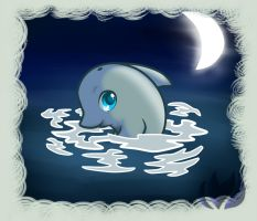 Dolphin in the moonlight by raininess
