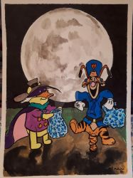 Halloween with Pooh and Tigger by bedlamnac