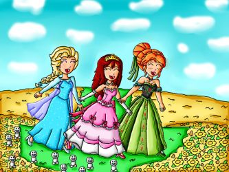 kairi, anna and elsa in the flower field by ninpeachlover