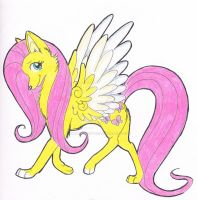 Fluttershy Wolf by Silent-Shadow-Wolf