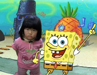 Sakura with Spongebob by happylilsquirrel