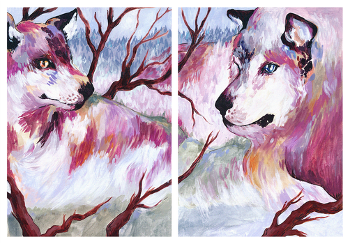 tale of two wolves by sbeeart