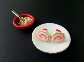 Strawberry roll ear studs by SprinklesGirl
