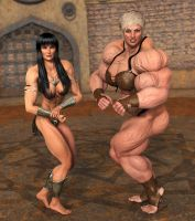 Hulk Gabs and Xena Posing by arkbishop
