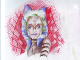Ahsoka Tano Aquarelle colored pencils. by Chyche
