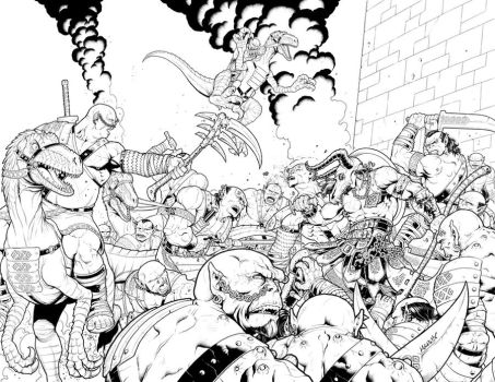 Demonslayer vs. The Horde by MannixFrancisco