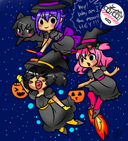 Three Witches and a Cat by StarGamer01