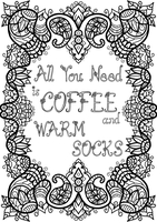 Free Colouring Page - Coffee and Warm Socks by WelshPixie