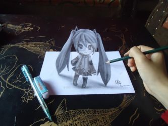 Miku Nendoroid- 3D Drawing on Paper by XenNa-Scarlet