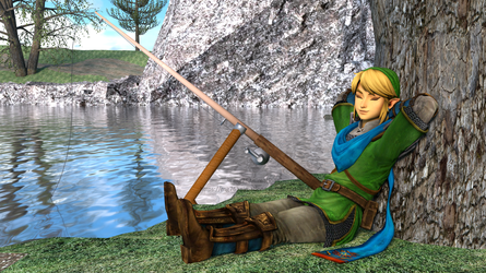 Link who is fishing by mg76Animations