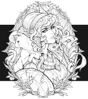 Athena - Lineart Commission by clover-teapot
