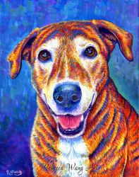 Colorful Pet Portrait - Ally by rebeccawangart