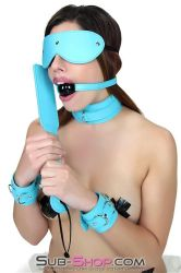 Paddle, gag, blindfold, and cuffs in Diamond Blue? by subshopautumn