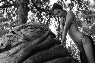 Leia and Jabba - BN - 06 by Darthsandr
