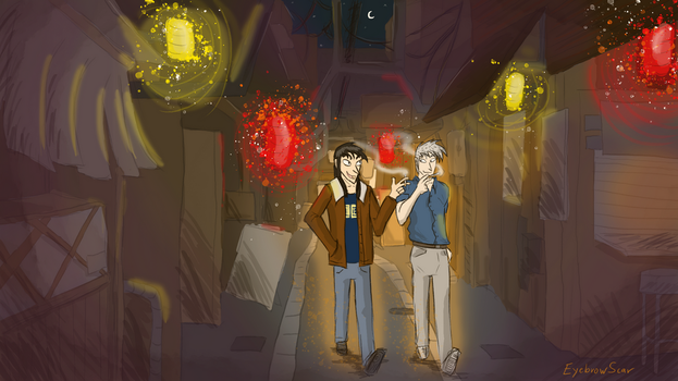 Kaiji and Akagi - Walking Home At Night by EyebrowScar