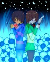 Frisk And Chara In Waterfall by Odnyrin