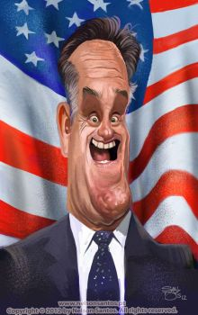 Caricature of Mitt Romney by nelsonsantos
