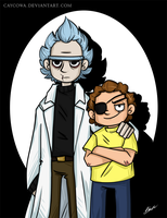 Evil Rick and Morty by caycowa