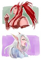 WoW - Some Blood Elves Portraits by OkenKrow