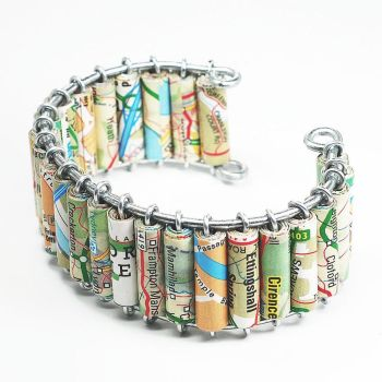 Paper bead jewelry- Upcycled Britain Map Bracelet by Tanith-Rohe