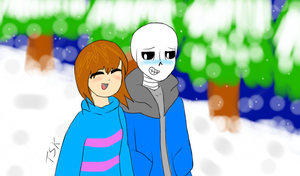 Frans (SansxFrisk) [For Cookiecococat] by TheSkeletonKid
