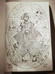 INKTOBER Day 17: Necromancer by Drawing-Heart
