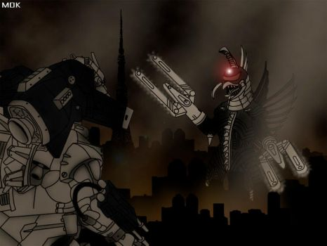 Mechagodzilla vs. Gigan by OrbitalWings