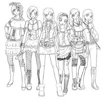 Steampunk Girl Gang Lineart by lemonfox2002