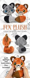Fox Plush Sewing Pattern by SewDesuNe