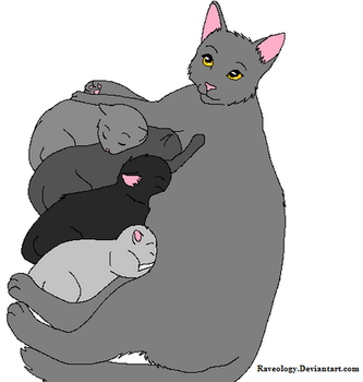 Mother and kittens by Raveology