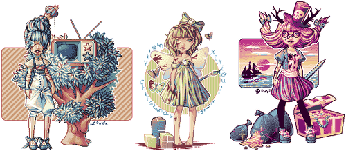 Old pixel dolls by BlueCandyCane