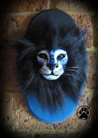 SOLD Blue fire guardian lion wall art. by CreaturesofNat