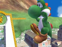 Yoshi on a house by theyoshifanboy