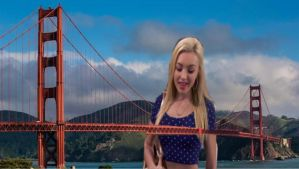 Mega giantess Peyton List goes for a swim by cheeselover100