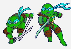 tmnt-drawing pose of Leo by koju327