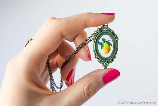 Pear branch necklace, polymer clay and resin 01 by NoirArt
