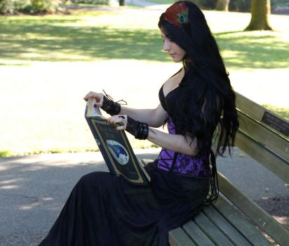 Stock - Gothic Lady In Corset Reading by Mahafsoun