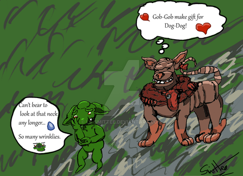 Gob-Gob gives a gift to Dog-Dog by Le-Smittee