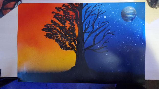 Day And Night Spray Paint Art by PlaidNGlasses
