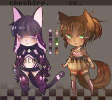 Adopts: Cheshire and Coffee Cat by CatCobraAdoptables