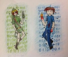 Ben Drowned and Herobrine by lifewatery