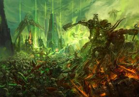 Necron vs Khorne by faroldjo