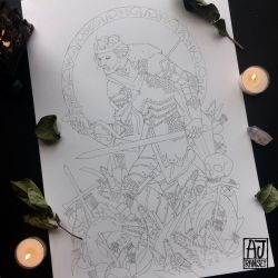 Uther Pendragon (line art version) by AmandaRamsey