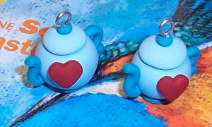 Blue Polymer Clay Teapot Charm by SeaOfCreations