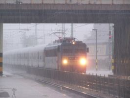 Fast train in the storm by morpheus880223