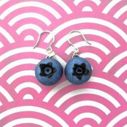 Blueberry Earrings -Silver by KawaiiCulture